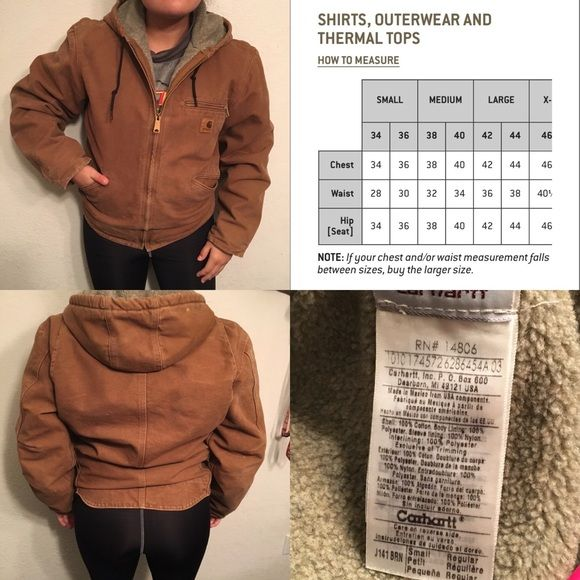 Brown Sherpa-Lined Carhartt Jacket Mens small Carhartt jacket. Women's fit is around a S/M. Very warm, Sherpa lined. Zipper still works and no tears. There is some lighter patches (shown in last photo) from normal wear and washing, other than that it's in good condition. Carhartt Jackets & Coats