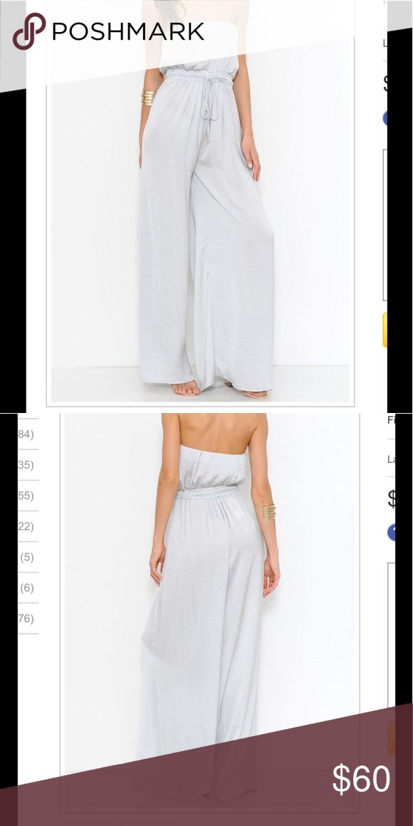 💎COMING SOON 💎 Silver Jumpsuit A Lightweight solid jumpsuit featuring an elastic waistband with drawstring. Strapless. Wide-legged silhouette. Finished hem. Pants Jumpsuits & Rompers