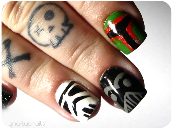 Star Wars nails BUT this site gnarly nails has lots of cool polish and nail designs.