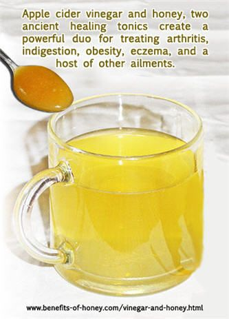 The alkaline-forming ability of apple cider vinegar can correct excess acidity in our system and help prevent and fight infection. Honey added to the vinegar naturally makes the mixture more drinkable for people. And the good news is that unprocessed raw honey has been classfified as an alkaline-forming food.