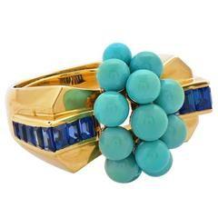 1940 Mauboussin Paris tyrkysová Sapphire zlatý prsten