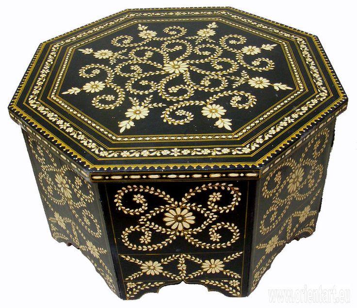 80x80 Cm Antik Look Orient Teetisch Tisch Couchtisch Schwarz Weiss Coffee Table