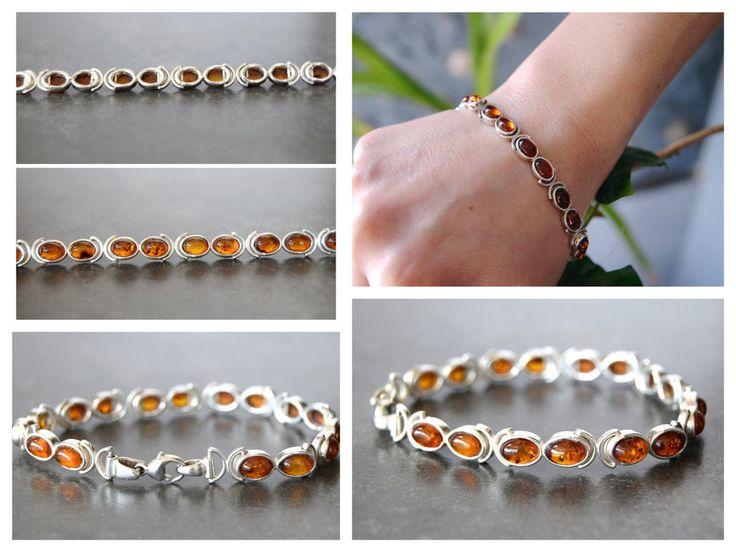 925 bracelet en argent ambre de la Baltique 16,1gr  20cm