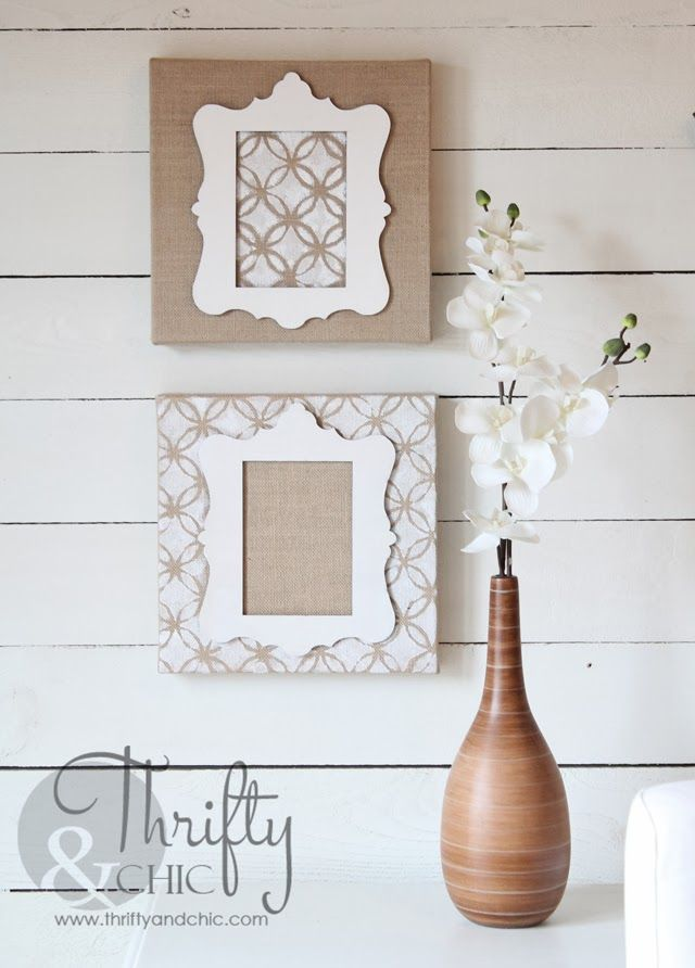 Stenciled Stretched Burlap Art Via Thriftyandchic Com