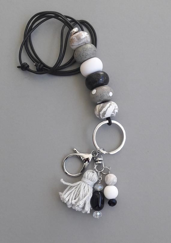 Paw Print Polymer Clay Beaded Lanyard Keychain accessories