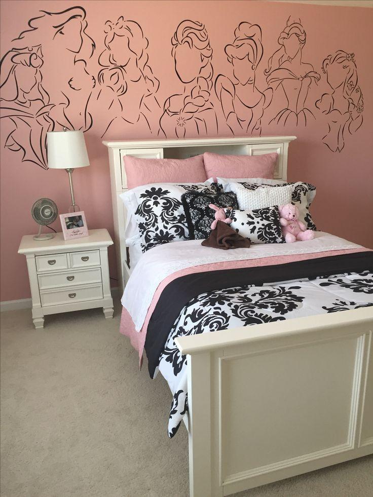 Pink black white disney princess vinyl girls bedroom