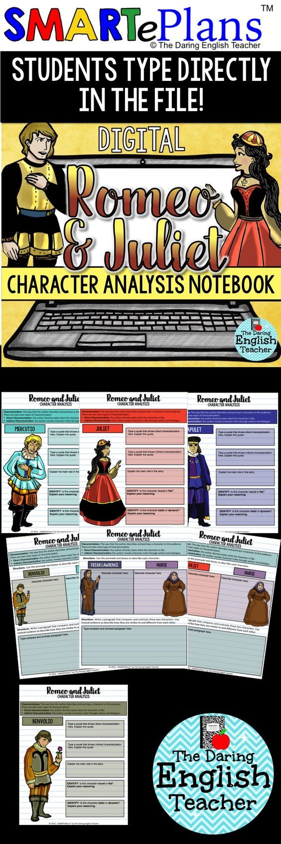 Digital Romeo and Juliet Character Analysis Interactive Notebook. Ideal for the digital high school English classroom, this digital character analysis resource includes graphic organizers for all of the main characters.
