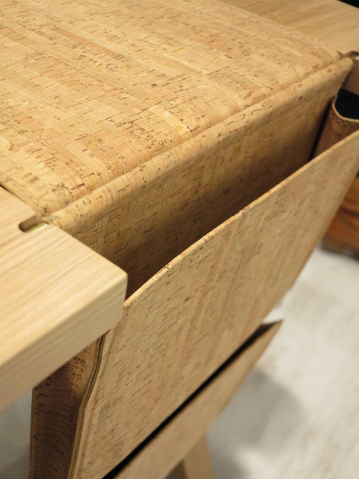 BOLSA desk saddlebag detail here in cork. #desk #cork #design #oak #walnut #solidwood