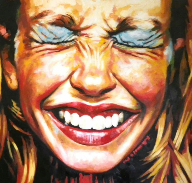 Close Up Laugh Make Up 135/145 cm Oil on canvas, Thomas Saliot