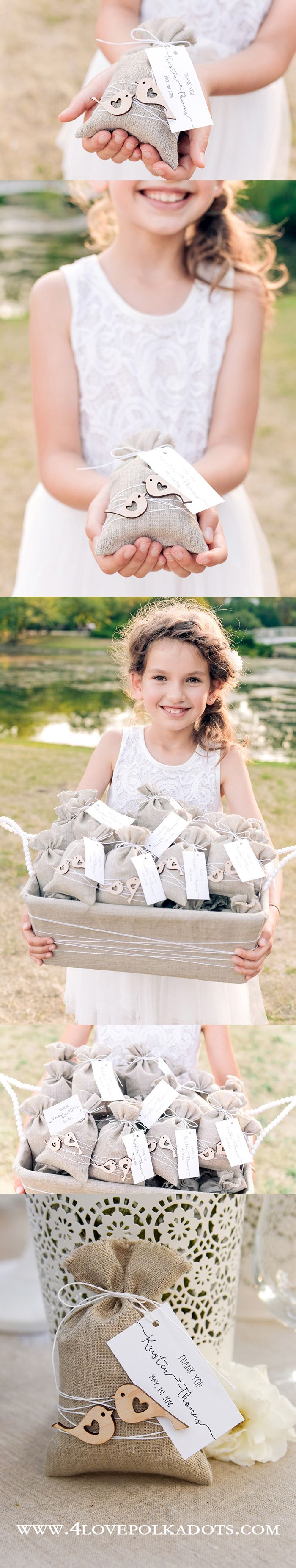 Linen Rustic LoveBirds Favor Bags - Impress Your Guests ! #weddingideas