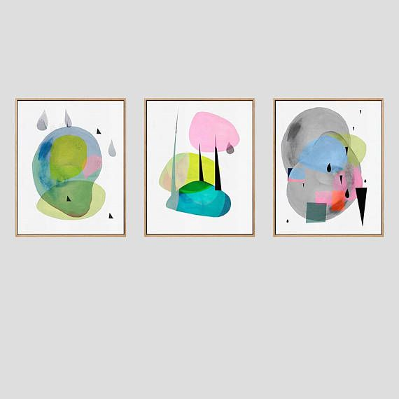 Set Of Three 16x20 Colourful Abstract Modern