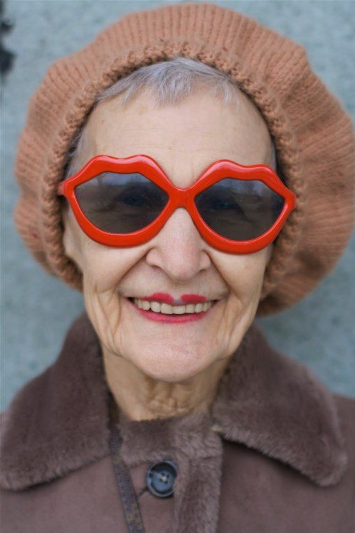 : One Day, Old Age, Go Girls, Young At Heart, Old Lady, Red Lips, People, Sunglasses, Age Grace