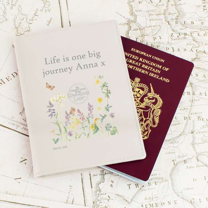 A stylish passport holder to take with you on your travels You can personalise this passport holder with 2 lines of text up to 15 characters per line