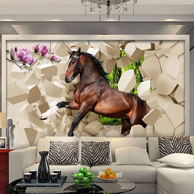 3D Galloping Horse Wallpaper Wall Mural Wall wallpaper