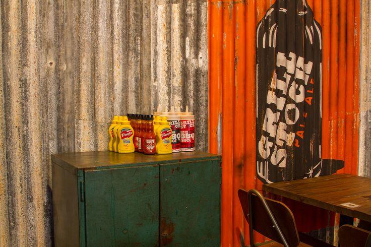 Grillstock - Restaurant #mural #handpainted #illustrative on corrugated iron