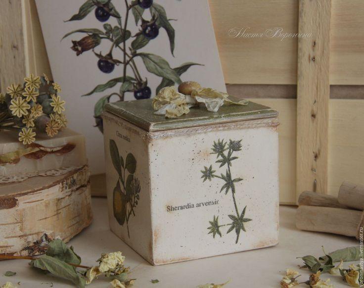 2.Купить Коробок Травки - Декупаж, шкатулка, короб для сыпучих, винтаж, коробка, травы, оливки