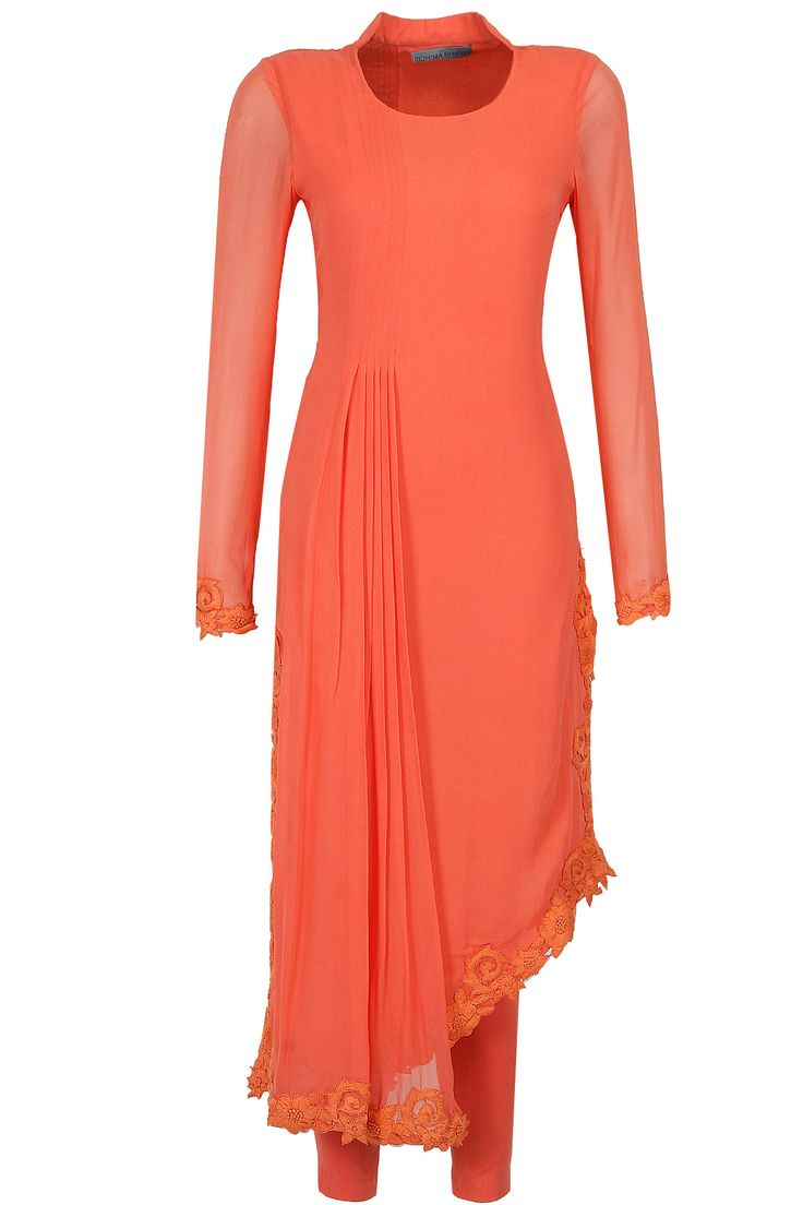 Coral thread embroidered straight asymmetric kurta set available only at Pernia's Pop-Up Shop.