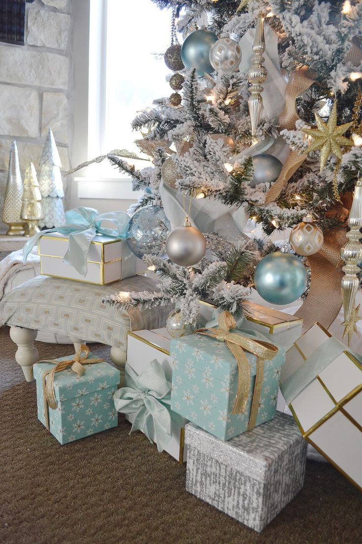 Blue christmas trees decorating ideas - Aqua Blue Silver And White Christmas Flocked Christmas Treeswhite Christmas Decorationsbeach