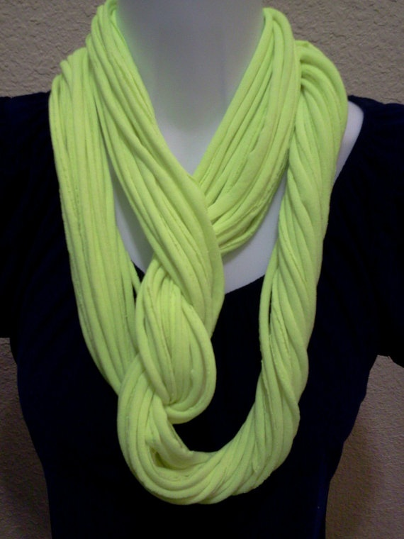 Recycled Neon Yellow T Shirt Necklace Infinity by LonestarFashions, $14.00