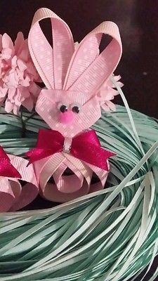 Girls easter bunny hair clip set alligator clips double prong hair accessories