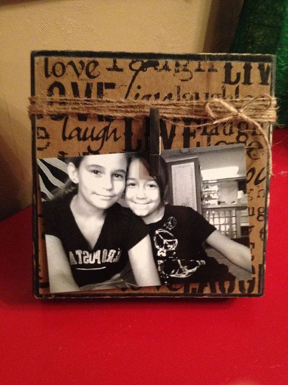"Rustic Wood Photo Frame with Decoupage ""Live, Laugh, Love"" Scrapbook Paper, Twine  Clip Holder  on Etsy, $14.00"