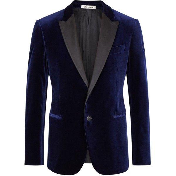 Armani Collezioni Navy Velvet Tuxedo Jacket - Size 42 ($1,095) ❤ liked on Polyvore featuring men's fashion, men's clothing, men's suits, mens 3 button suits, old navy mens clothing, mens velvet suit, mens peak lapel suits and mens navy blue suit