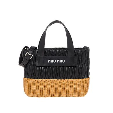 Nappa leather and wicker bag
