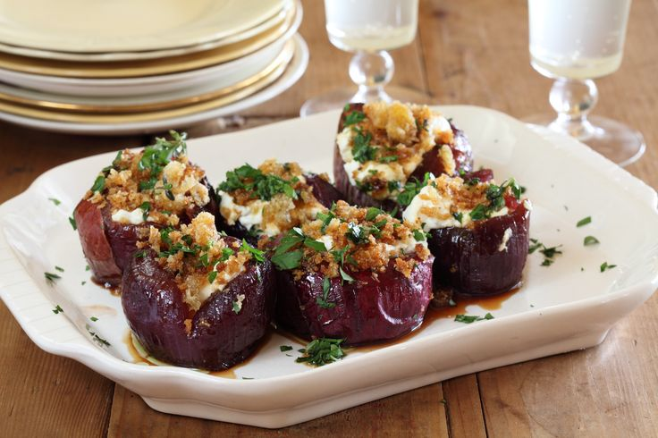 Baby Red Onions Stuffed with Goats Cheese - Maggie Beer