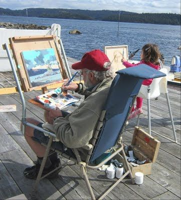 """""""Art is a path on which we honour our world."""" - ROBERT GENN (1936-2014) (image: Robert Genn painting with an up and coming artist...courtesy of Linda Wilder Creative Expressions: May 2011)"""