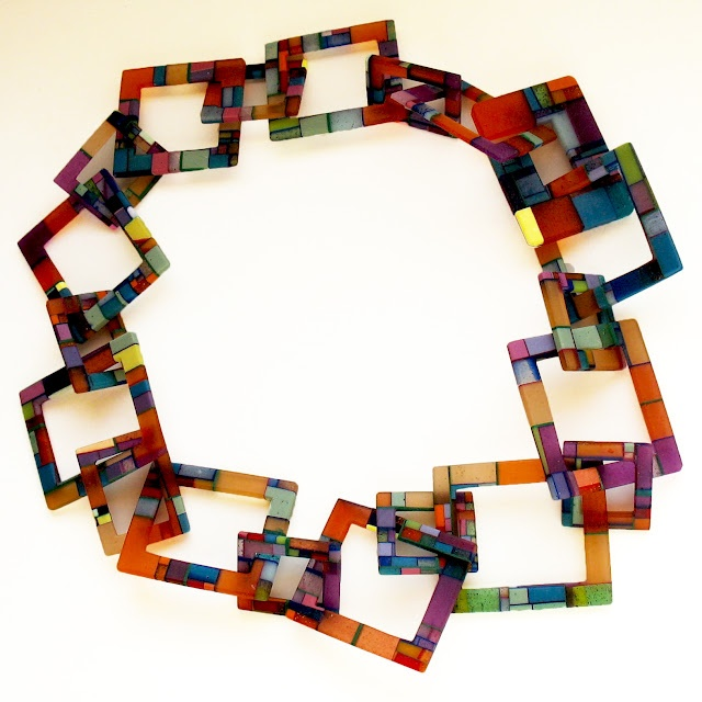 Necklace | Dorota Kos.  Dorota makes one of a kind jewellery using ecycled materials as plastic, acryl, polymer, resin.