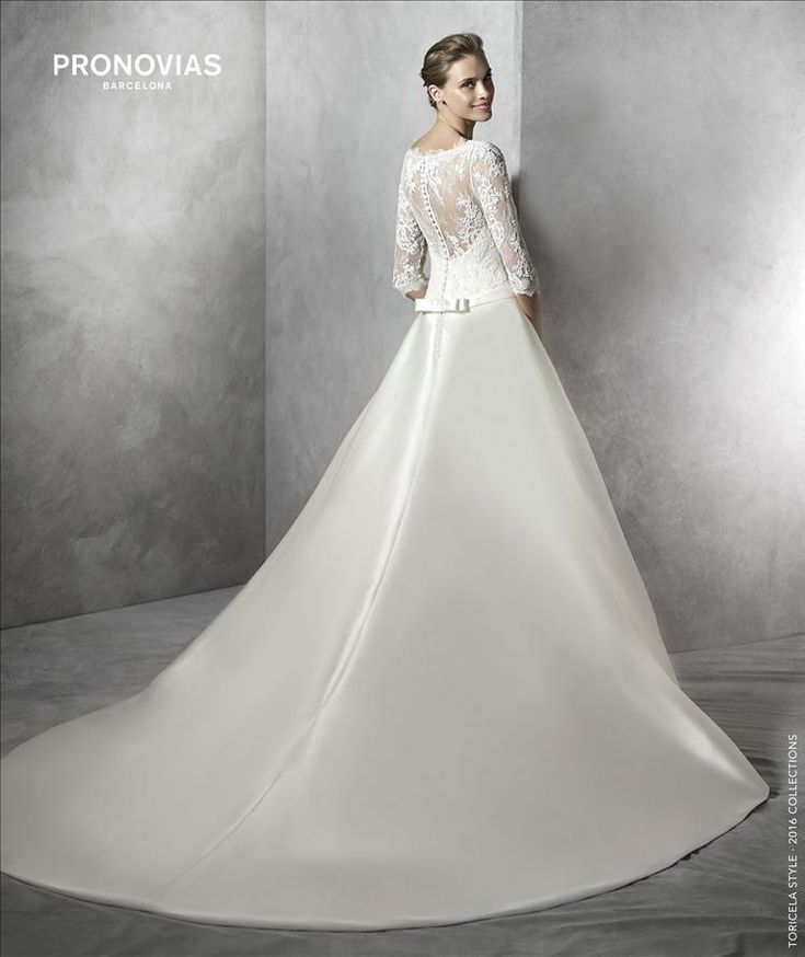 TORICELA Simple Princess Wedding Dress In Mikado Silk With Long Sleeves Lace Bodice Bateau Neckline And Sheer Overlay Sweetheart