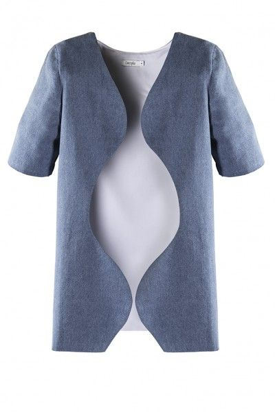 REBA JACKET - Denim meets wavy cuts for a sophisticated look. The Reba Jacket has a unique architecture which renders a confident feel. It is cut for a relaxed fit with a collarless neckline and an open front. It can easily create a chic accent to off-duty looks!