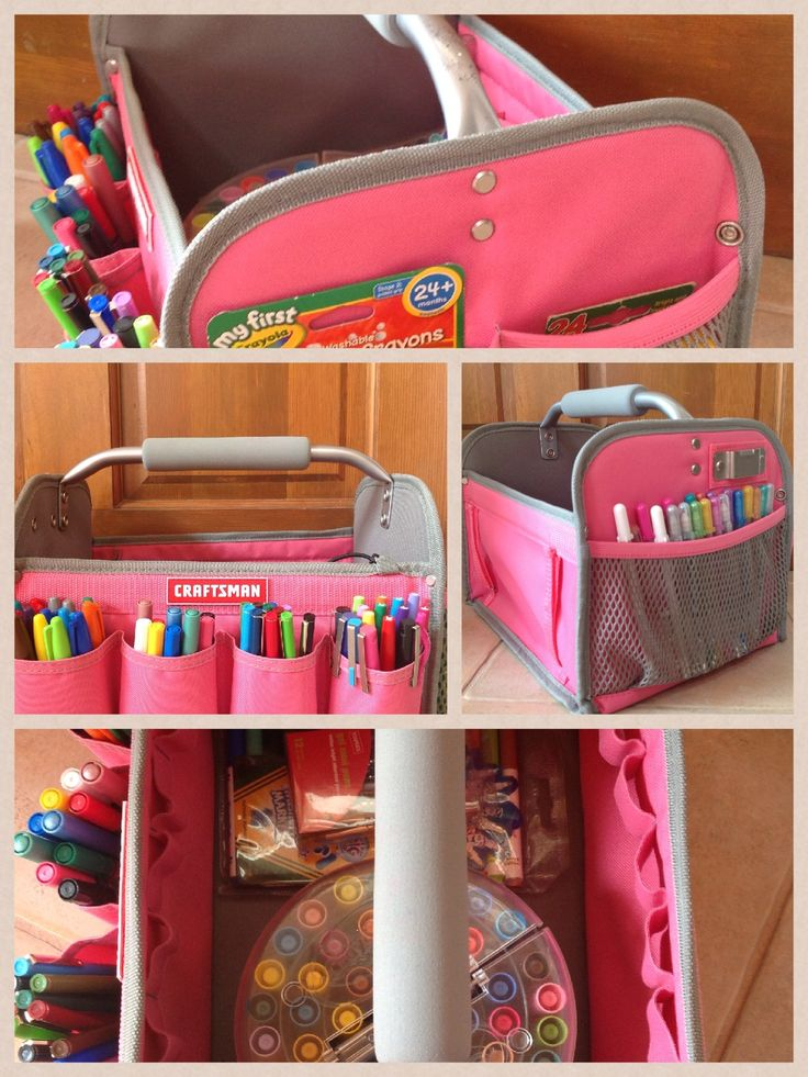 Craftsman Tool Tote in pink - used for markers & pens