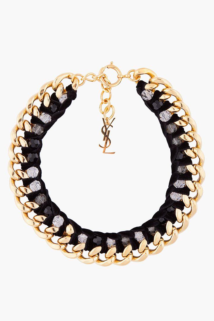 Yves Saint Laurent Black And Gold Velvette Chain Necklace for Women | SSENSE