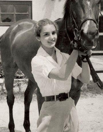 Carolina Herrera : Living the rustic life with her horse Balaclava, Caracas, 1955.