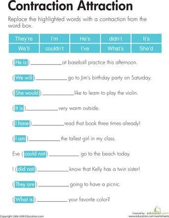 Contractions Worksheets | Have Fun Teaching