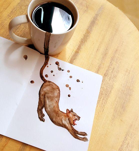 Sanatlı Bi Blog Kahve ile Oluşturulmuş Minnak Kedi Karakterleri - Kahve Sanatı 8