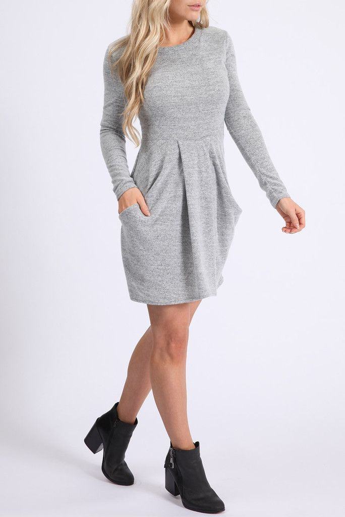 Ladies BRUSHED KNITTED MELANGE TULIP DRESS