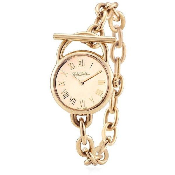 Brooks Brothers Ladies' Gold Stainless Link Bracelet Watch ($495) ❤ liked on Polyvore