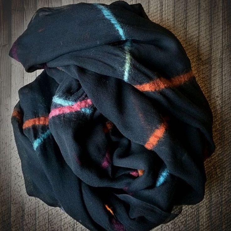 "danavaleins on Instagram: ""#fashion #style #valeins #handmade #silk #silkscarf #scarf #nunofelt #felt #streetstyle #streetfashion #aucklandfashion #merino #merinowool #newzealandwool #newzealandfashion #turquoise #lightblue #black #hotpink #orange #lightblue #rainbow #ombre #blackscarf"""
