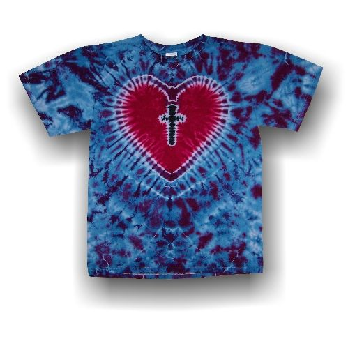 Handmade Adult Short Sleeve T Shirt Cross My Heart Tie Dye