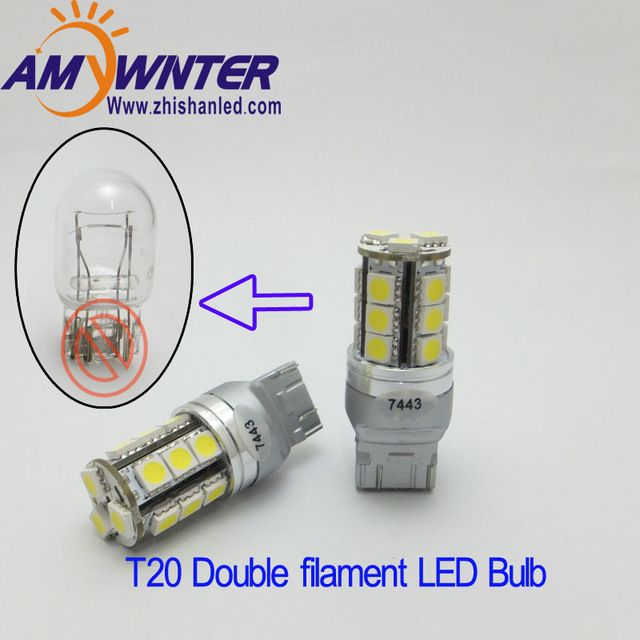 T20 7443 12v Led Dual Light Function7444led Yellow White Car Brake Lights Bulbs Red Carro High Power Car Light Source 12v Wy21w Re Car Lights White Car 12v Led
