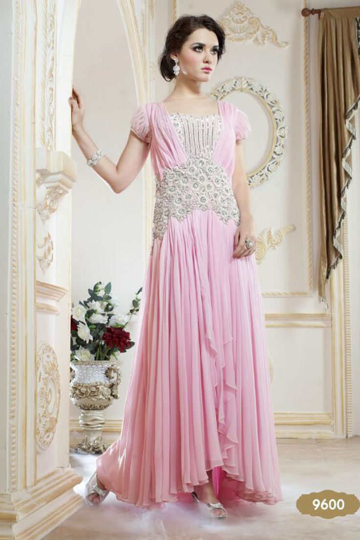 Gorgeous Designer Embroidered Evening Gown from Shivam Prints.