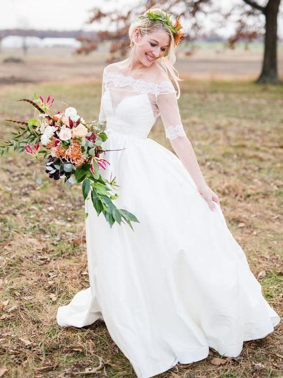 b332d19180a4 SheerGirl wedding Off the Shoulder White Country Wedding Dresses Half  Sleeve Beach Wedding Dress AWD1123