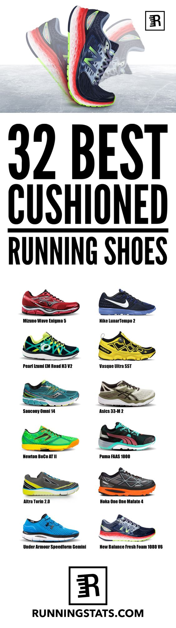 Lots of runners swear by the pain-relieving effects of cushioned running shoes. Maximalist running shoes.. Fad or Fact. Call it whatever you want but the shock absorption properties of these shoes are sure to help. Here are 32 of the best cushioned running shoes you can find out there.