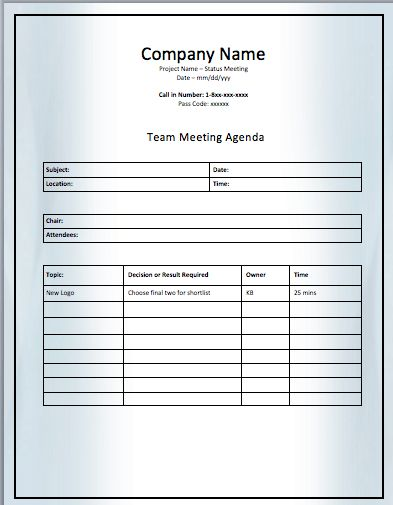 Project Team Meeting Agenda Template  Best Meeting Agenda Template