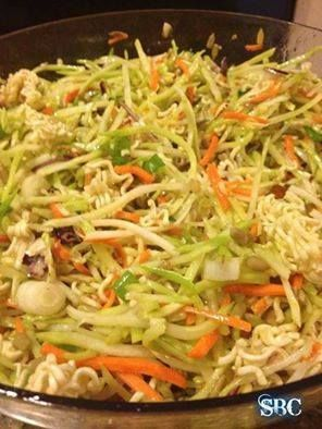 This one is really good!!!! RAMEN NOODLE BROCCOLI SALAD  Ingredients: 2 (3 ounce) packages beef-flavor ramen noodles 2 (8 1/2 ounce) packages broccoli coleslaw mix 1 cup toasted slivered almonds 1 cup sunflower seeds 1/2 bunch green onion, chopped 1/2 cup sugar 3/4 cup oil 1/3 cup white vinegar  Directions: 1 Before opening noodles, crush into 1 inch pieces. Open packages and set aside flavor packets. 2 Place noodles in bottom of large serving bowl. Top noodles with broccoli slaw, then ...