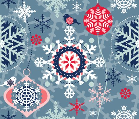 snowflakes in garden 02 fabric by chicca_besso on Spoonflower - custom fabric