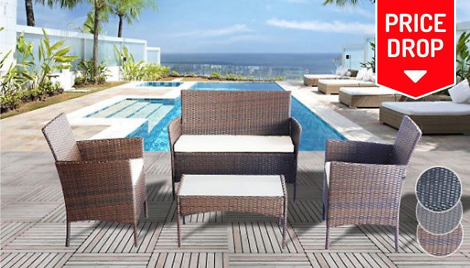 4-Piece Rattan Garden Furniture Set - 3 Colours Get set for summer with the4-Piece Rattan Garden Furniture Set      Set includes: 2 x armchairs, 1 x sofa and 1 x table      Available in brown, black or grey (see Full details for sizes)      Made from weather-resistant, rattan-effect weave      Armchairs and sofa come complete with matching cushions      Table features a 5mm tempered safety...