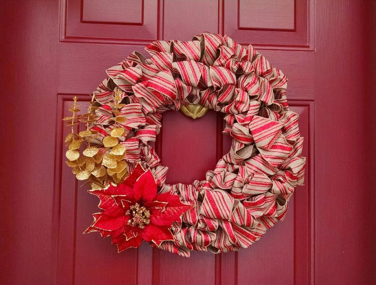 Holiday wreath made with glitter ribbon.